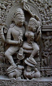 shiva and parvati in stone
